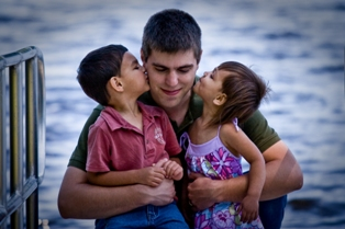REAL Handsome Guy with Adorable Kids